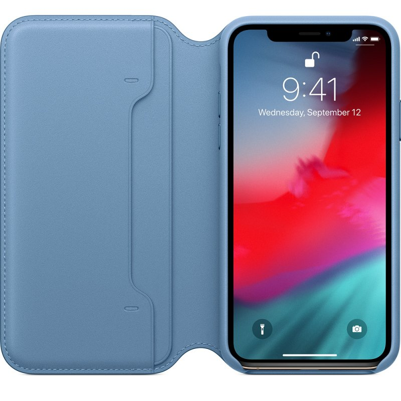 iPhone XS Max Leather Folio - Cape Cod Blue - obrázek č. 1