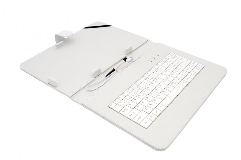 "AIREN AiTab Leather Case 4 with USB Keyboard 10"" WHITE (CZ/ SK/ DE/ UK/ US.. layout) - obrázek produktu"