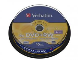 VERBATIM DVD+RW(10-Pack)Spindle4x/ DLP/ 4.7GB  (43488)