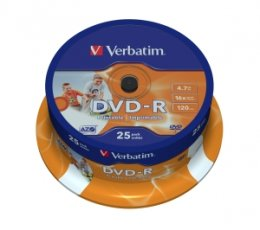 VERBATIM DVD-R(25-Pack)Spindl/ Printable/ 16x/ 4.7GB  (43538)