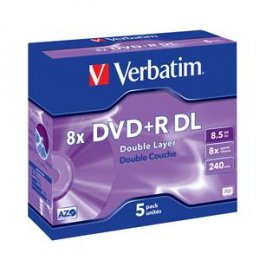 VERBATIM DVD+R(5-pack)DoubleLayer/ Jewel/ 8x/ 8,5GB  (43541)