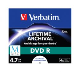 VERBATIM DVD R 4,7 GB (120min) M-Disc 4x Printable jewel box, 5ks/ pack  (43821)