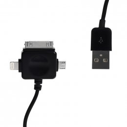 WE Datový kabel micro USB/ iPhone4/ 5 100cm černý  (09984)