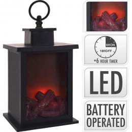 LANTERN FIREPLACE | LED | 24 CM | TIMER | BATTERY OPERATED (ADA100060)  (ADA100060)
