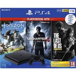 PS4 - PlayStation 4 černý 1TB - F Chasiss (slim) + GTS+U4+HZD  (PS719318804)