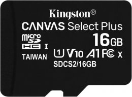16GB microSDHC Kingston Canvas Select Plus  A1 CL10 100MB/ s + adapter  (SDCS2/16GB)