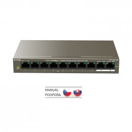 Tenda TEF1110P-8-102W PoE AT switch - 8x PoE 100 Mb/ s + 2x Uplink 1 Gb/ s, PoE max 102W, fanless  (TEF1110P-8-102W)